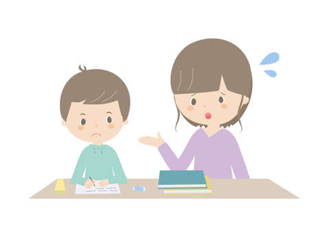 It is an illustration of a boy studying at home while being told by his mother.