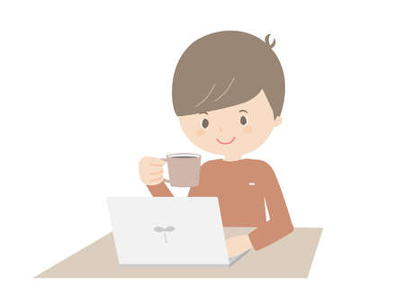 Illustration of a young man drinking coffee while looking at a laptop. 向量圖像