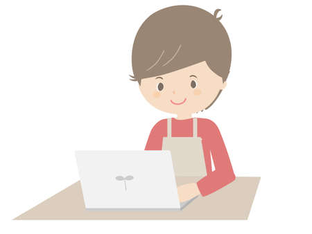 Illustration of a young man wearing an apron looking at a laptop. 向量圖像