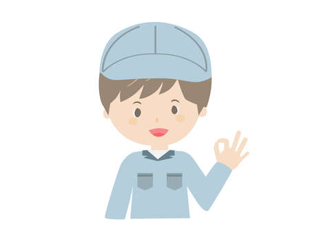 It is a vector illustration of a man in work clothes that poses OK.