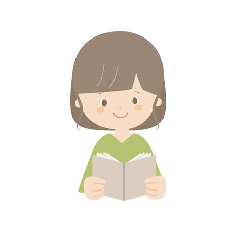It is an illustration of a woman reading a book. Vector Illustration