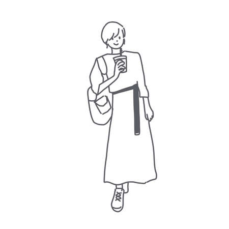 It is an illustration of a young woman in a long skirt.