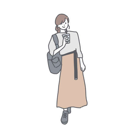 It is an illustration of a young woman in a long skirt. Ilustración de vector