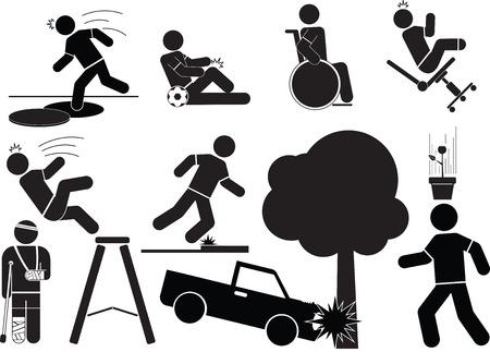 accident: Accident icon set.