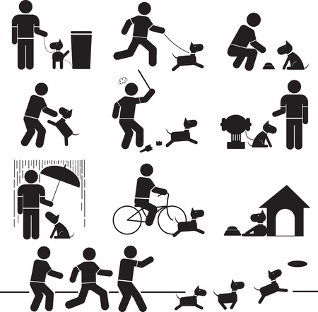 Icons Beziehung zwischen Mensch und Hund.
