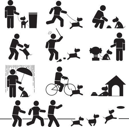 dětské hřiště: Ikony vztah mezi lidmi a psy.