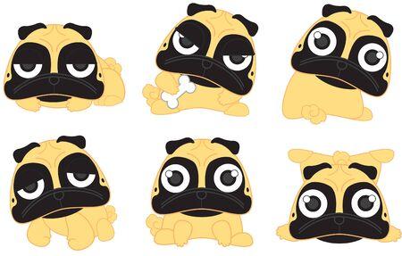 cartoon dog: Cartoon cute serious dog fawn pug breed