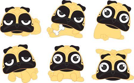 fawn: Cartoon cute serious dog fawn pug breed