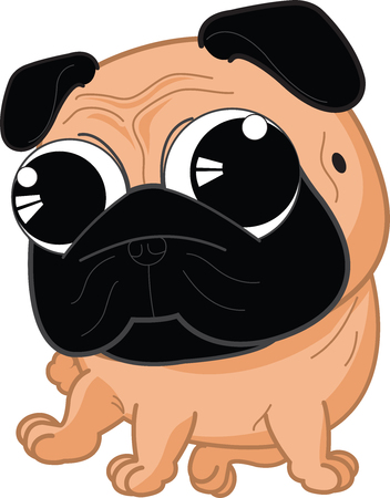 wrinkly: Cartoon cute serious dog fawn pug breed