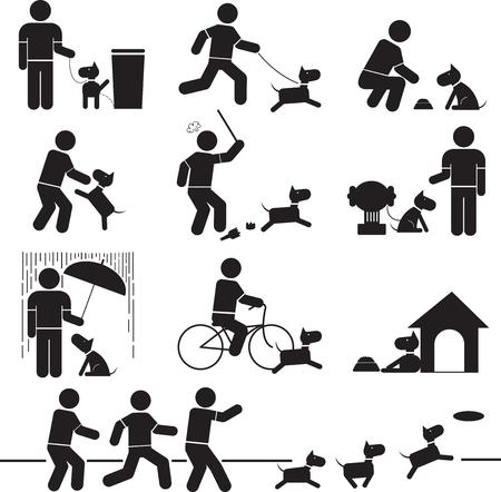 Iconos relación entre las personas y perros.