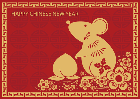 chinese new year card - rat Stock Illustratie