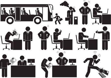 salary man icon set Illustration