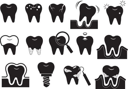 teeth icon set Illustration