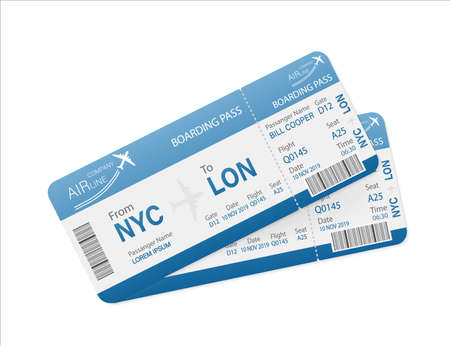 Flat airline tickets for paper design. Template vector. Business concept.