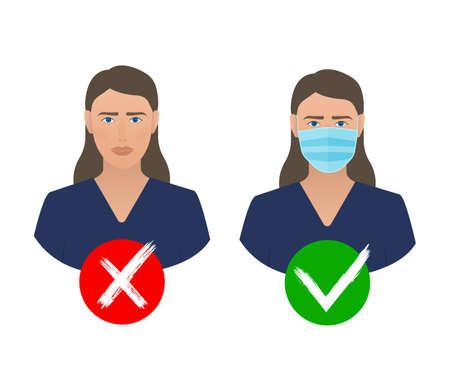 Coronavirus pandemic prevention. Medical mask icon. Coronavirus protection concept Ilustracje wektorowe