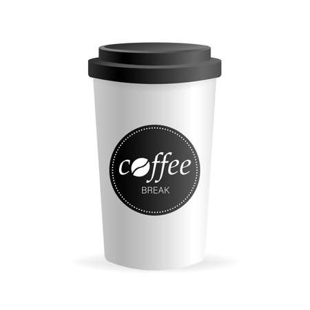Paper coffee cup in 3d style on white background. Blank mockup. Mock up, template. Coffee drink