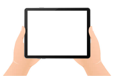Modern flat illustration with black empty tablet hands on white background. Digital technology. Modern flat illustration. Web design