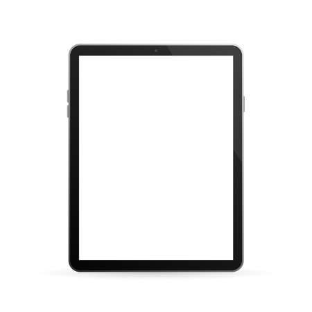 Modern button with black empty tablet on white background for mobile app design. Isolated black background