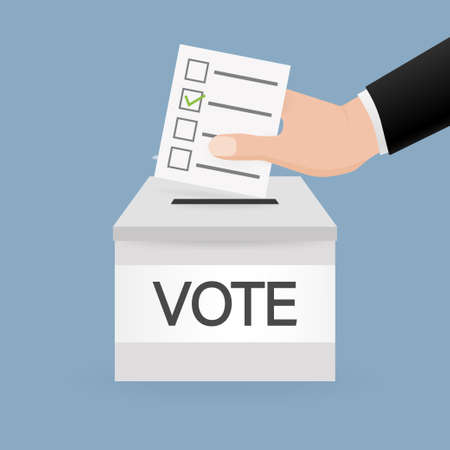 Vote box, great design for any purposes. Voting hand concept. Minimal design. 3d illustration