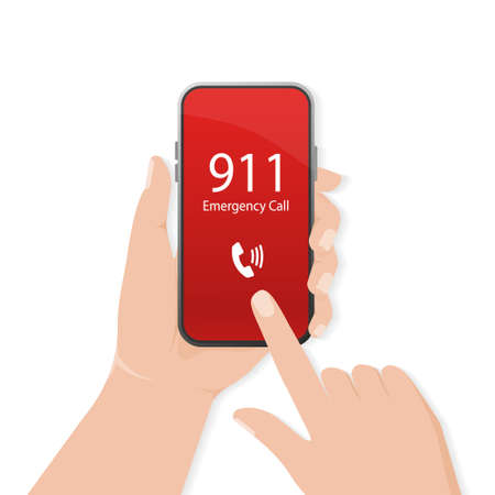 911 calling in flat style flat design. Mobile phone. Finger touch screen. First aid. Call screen smartphone. Illusztráció
