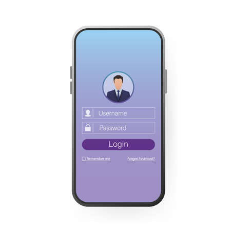 User login smartphone for site design. Mockup application page user interface. Phone, mobile, smartphone, mockup. Device screen. Business icon