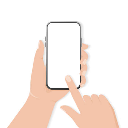 Flat icon with smartphone with hand for mobile app design. Illusztráció