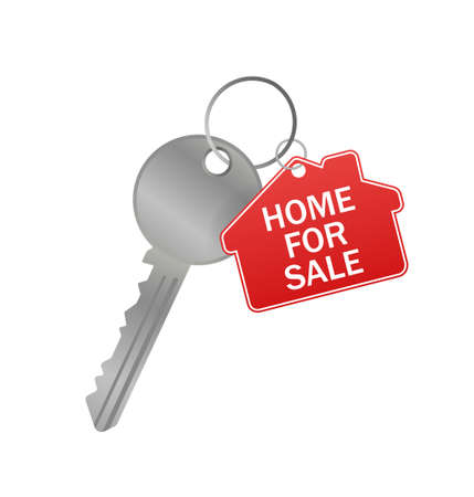 Sketch icon with red home for sale key on white background for concept design. Home for sale key Illusztráció