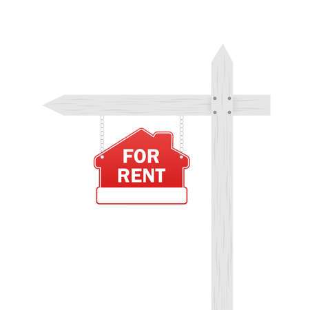 Flat illustration with red home for sale sign on white background. Billboard blank. Sale tag.