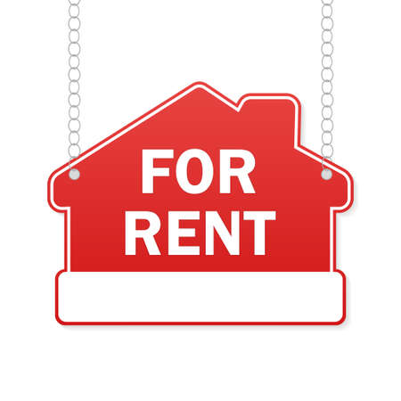 Home for sale red sign. Discount offer price sign. Sale tag. Business icon Vector Illustration