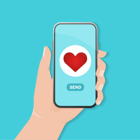 Heart send, great design for any purposes. Heart design. Smartphone screen. Telephone icon. Finger touch screen Illusztráció
