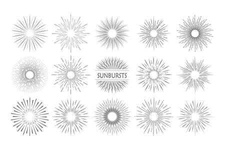Sunburst in retro style on light background. Starburst label. Light banner. Vector Illustration