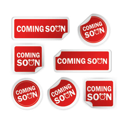 Red coming soon sticker on white background for promotion design. Vintage label. Round button.