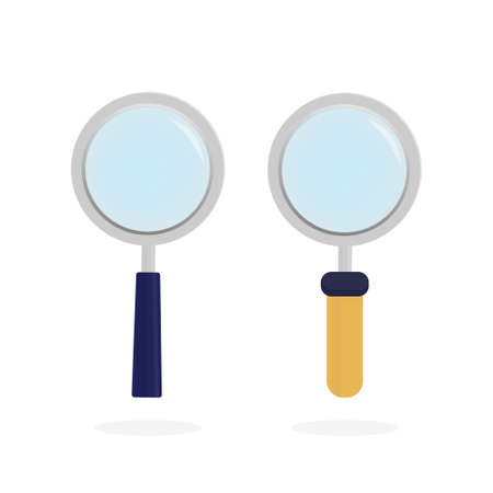 Modern line icon with loupe on white background for site design. Flat style art loupe for site design. Vecteurs