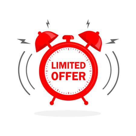 Flat icon with red limited offer for any purpose. Last chance sale. Flat concept. Promotion banner concept