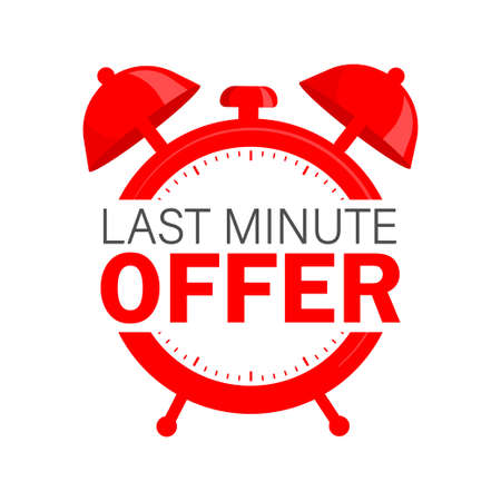 Flat icon with red limited offer for any purpose. Last chance sale. Flat concept. Promotion banner concept Vector Illustration