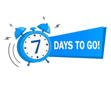 Seven days to go. stock illustration on white background. label, blue alarm clock flat with ribbon, promotion icon