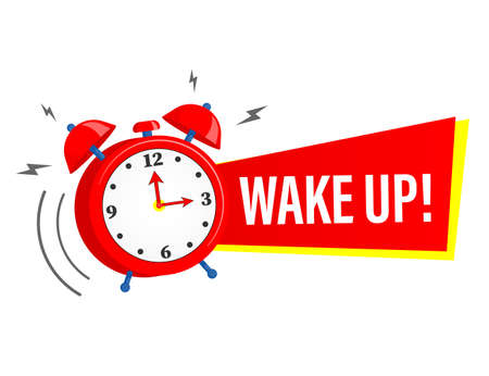 Wake up alarm clock icon with red ribbon. illustration on a white background