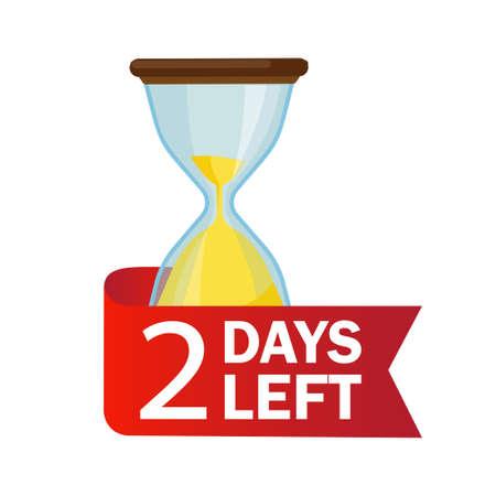2 days left. Sandglasses with calendar icon on a white background. Vektorgrafik