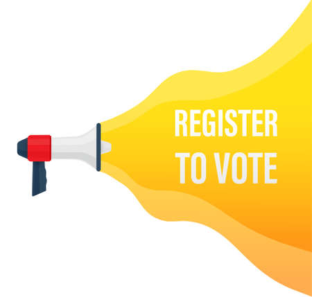 Megaphone with Register to vote. Illustration