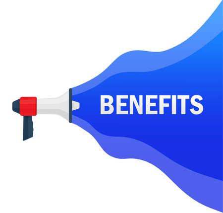 Benefits concept. Badge with megaphone icon. Ilustração