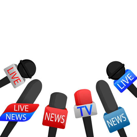 A vector illustration of colorful microphones on the podium with empty space for your announcements