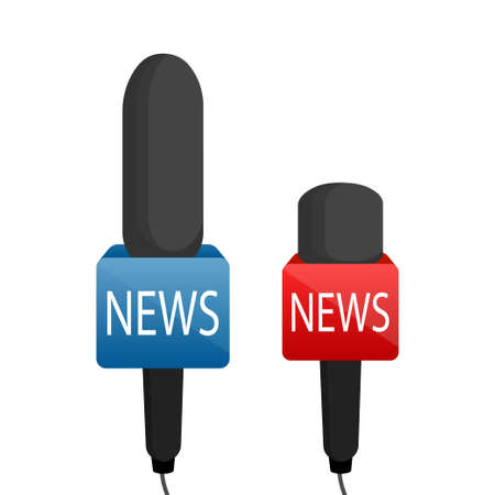 Microphone news set. Reporter journalism concept in flat style. Vector illustration 向量圖像