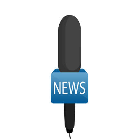Microphone news. Reporter journalism concept in flat style. Vector illustration