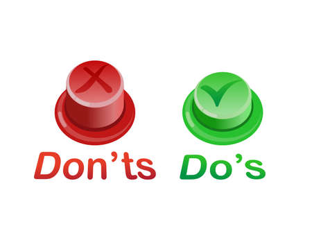 Red and green push. Graphic art design element isolated on white background. Concept of do or don't symbol like decision Illustration
