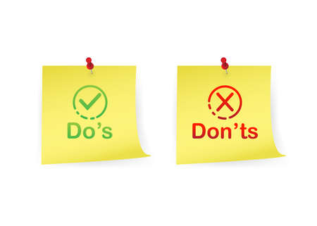 Do's and Don'ts on note sticks illustration isolated on white background