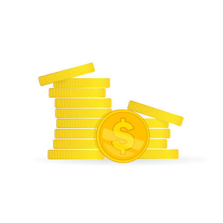Coins stock vector illustration in flat style. Coins pile, coins money, one golden coin standing before stacked gold coins