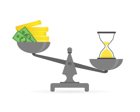 Concept of time and money. Time is more valuable than money. Time is money on scales icon on a white background in flat style. Vector illustration