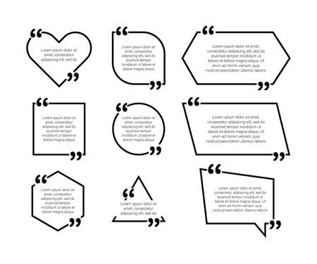 Set design elements quote. Commas. Vector illustration in flat style on a white background