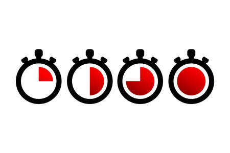 Timer icons. Stopwatch symbols. Flat icons on white background. Vector illustration  イラスト・ベクター素材