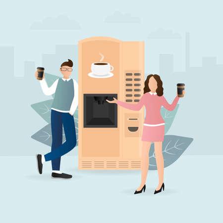 Cartoon character. Coffee break vending machine, great design for any purposes. Art illustration. Vector illustration